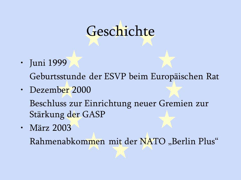 GASP und ESVP17 Geschichte Juni 1999 Geburtsstunde der ESVP beim Europäischen Rat Dezember 2000 Beschluss zur Einrichtung neuer Gremien zur Stärkung d