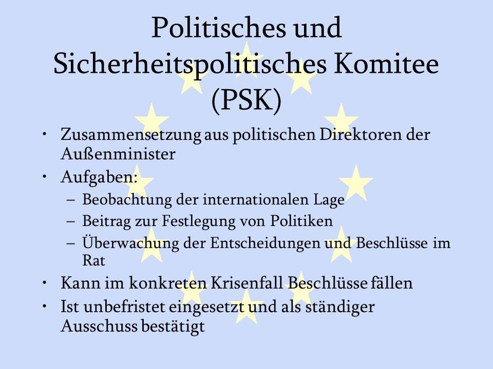 GASP und ESVP22 Politisches und Sicherheitspolitisches Komitee (PSK) Zusammensetzung aus politischen Direktoren der Außenminister Aufgaben: –Beobachtu