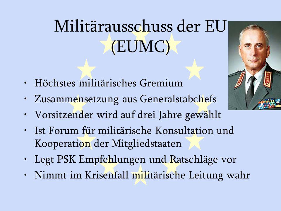 GASP und ESVP23 Militärausschuss der EU (EUMC) Höchstes militärisches Gremium Zusammensetzung aus Generalstabchefs Vorsitzender wird auf drei Jahre ge