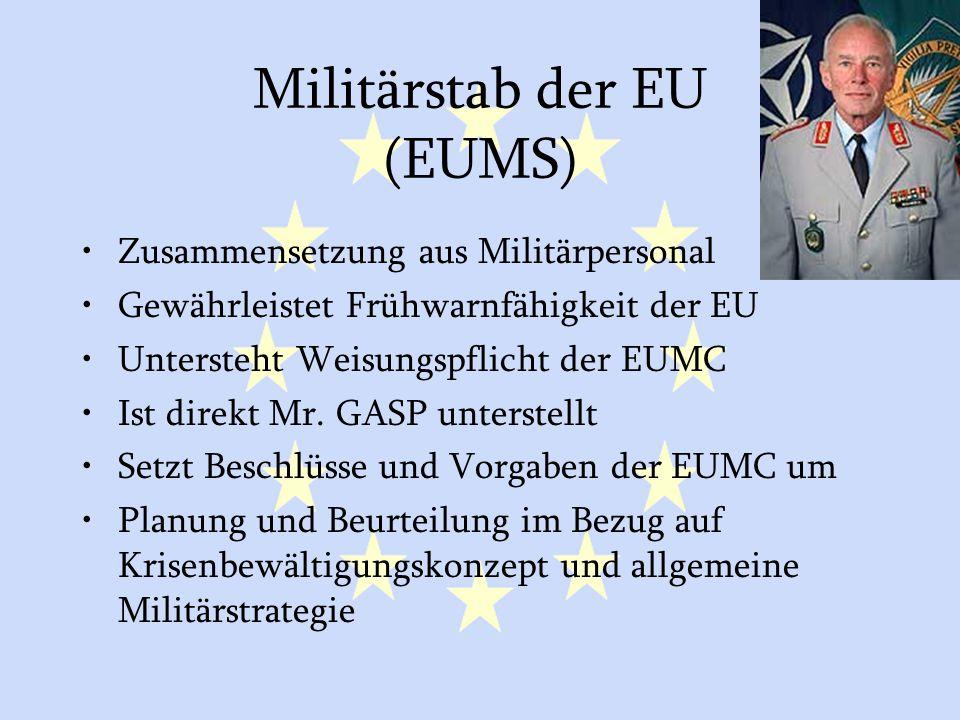 GASP und ESVP24 Militärstab der EU (EUMS) Zusammensetzung aus Militärpersonal Gewährleistet Frühwarnfähigkeit der EU Untersteht Weisungspflicht der EU