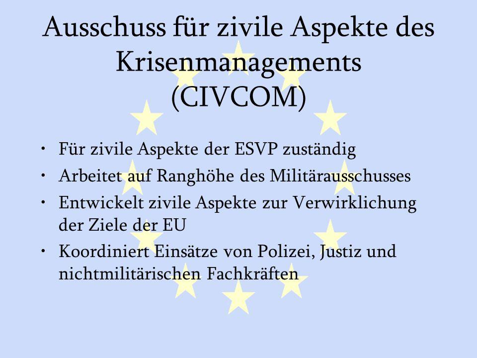 GASP und ESVP25 Ausschuss für zivile Aspekte des Krisenmanagements (CIVCOM) Für zivile Aspekte der ESVP zuständig Arbeitet auf Ranghöhe des Militärausschusses Entwickelt zivile Aspekte zur Verwirklichung der Ziele der EU Koordiniert Einsätze von Polizei, Justiz und nichtmilitärischen Fachkräften