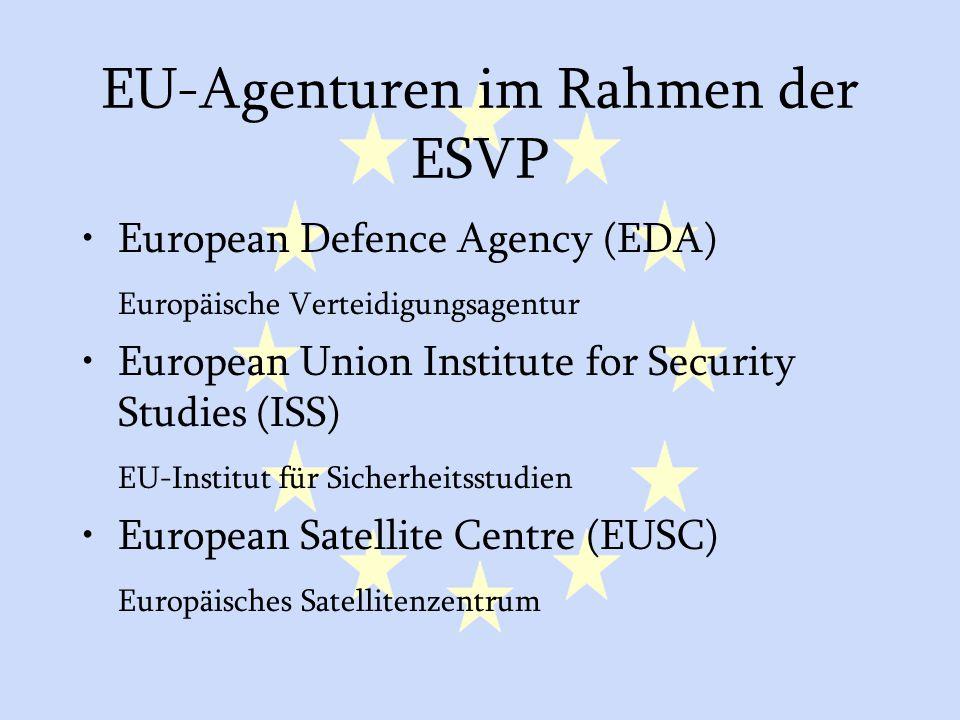 GASP und ESVP26 EU-Agenturen im Rahmen der ESVP European Defence Agency (EDA) Europäische Verteidigungsagentur European Union Institute for Security Studies (ISS) EU-Institut für Sicherheitsstudien European Satellite Centre (EUSC) Europäisches Satellitenzentrum