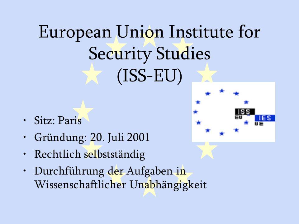 GASP und ESVP31 European Union Institute for Security Studies (ISS-EU) Sitz: Paris Gründung: 20. Juli 2001 Rechtlich selbstständig Durchführung der Au