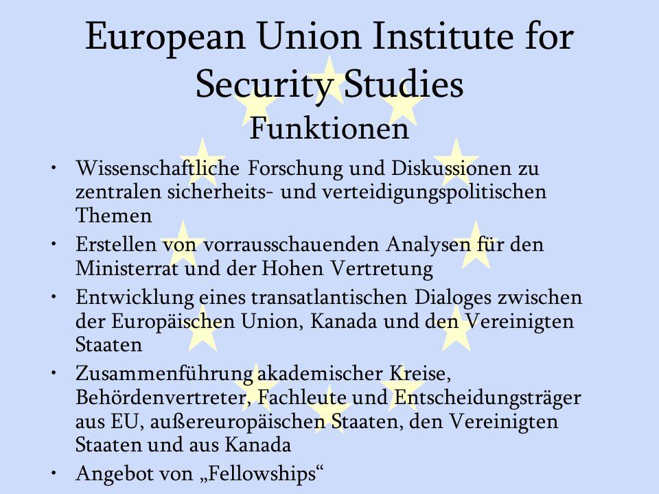 GASP und ESVP32 European Union Institute for Security Studies Funktionen Wissenschaftliche Forschung und Diskussionen zu zentralen sicherheits- und ve