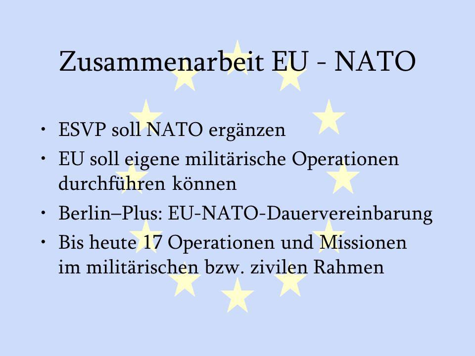 GASP und ESVP34 Zusammenarbeit EU - NATO ESVP soll NATO ergänzen EU soll eigene militärische Operationen durchführen können Berlin–Plus: EU-NATO-Dauer