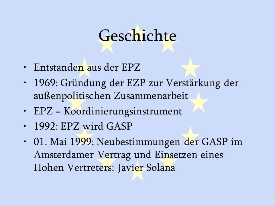 GASP und ESVP4 Geschichte Entstanden aus der EPZ 1969: Gründung der EZP zur Verstärkung der außenpolitischen Zusammenarbeit EPZ = Koordinierungsinstrument 1992: EPZ wird GASP 01.
