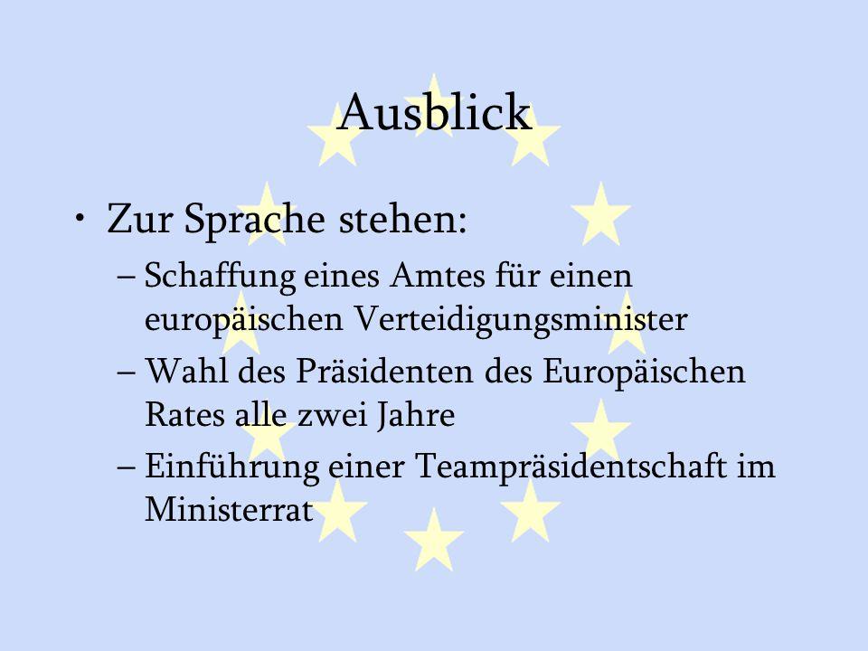 GASP und ESVP42 Ausblick Zur Sprache stehen: –Schaffung eines Amtes für einen europäischen Verteidigungsminister –Wahl des Präsidenten des Europäische