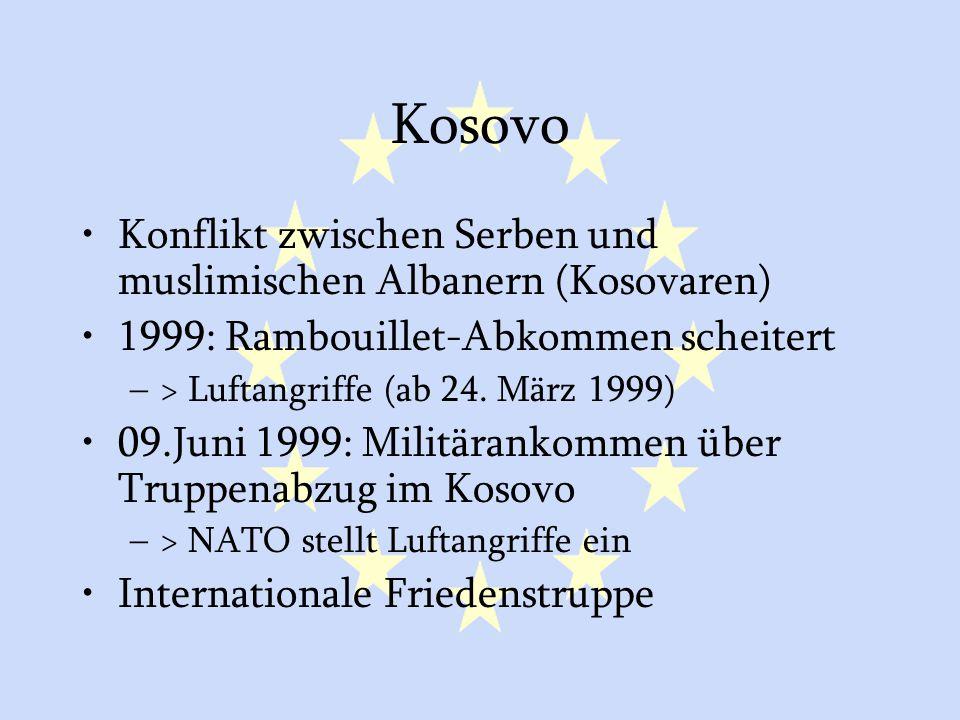 GASP und ESVP43 Kosovo Konflikt zwischen Serben und muslimischen Albanern (Kosovaren) 1999: Rambouillet-Abkommen scheitert –> Luftangriffe (ab 24. Mär