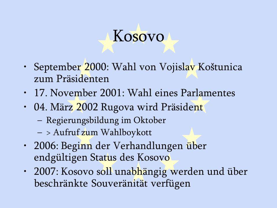 GASP und ESVP44 Kosovo September 2000: Wahl von Vojislav Koštunica zum Präsidenten 17. November 2001: Wahl eines Parlamentes 04. März 2002 Rugova wird