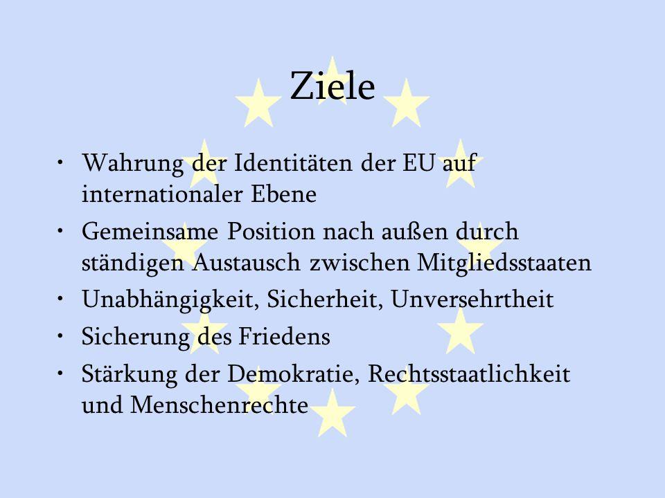 GASP und ESVP5 Ziele Wahrung der Identitäten der EU auf internationaler Ebene Gemeinsame Position nach außen durch ständigen Austausch zwischen Mitgli