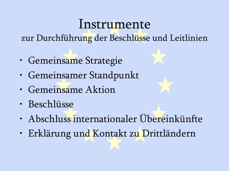 GASP und ESVP7 Instrumente zur Durchführung der Beschlüsse und Leitlinien Gemeinsame Strategie Gemeinsamer Standpunkt Gemeinsame Aktion Beschlüsse Abschluss internationaler Übereinkünfte Erklärung und Kontakt zu Drittländern