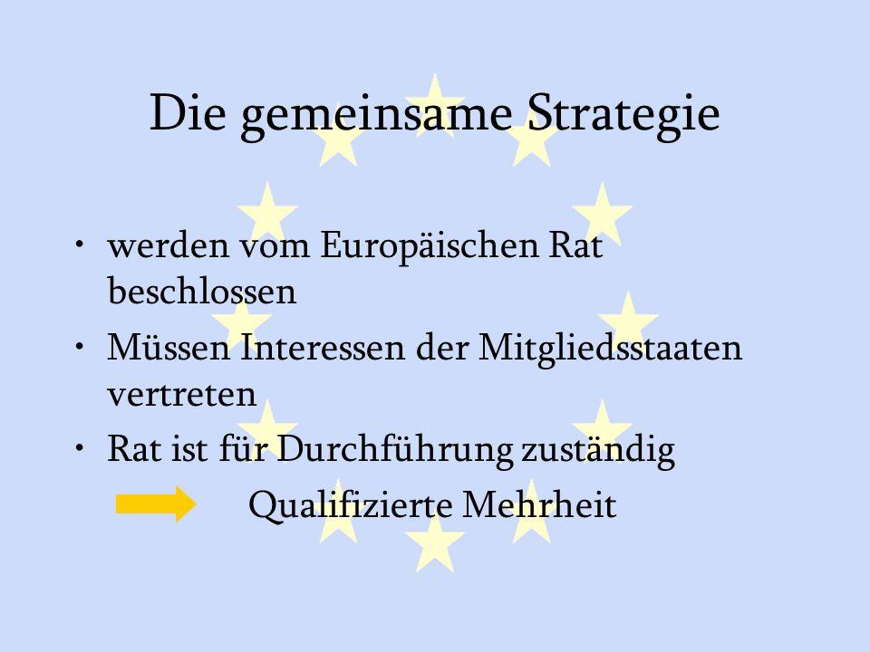 GASP und ESVP8 Die gemeinsame Strategie werden vom Europäischen Rat beschlossen Müssen Interessen der Mitgliedsstaaten vertreten Rat ist für Durchführung zuständig Qualifizierte Mehrheit