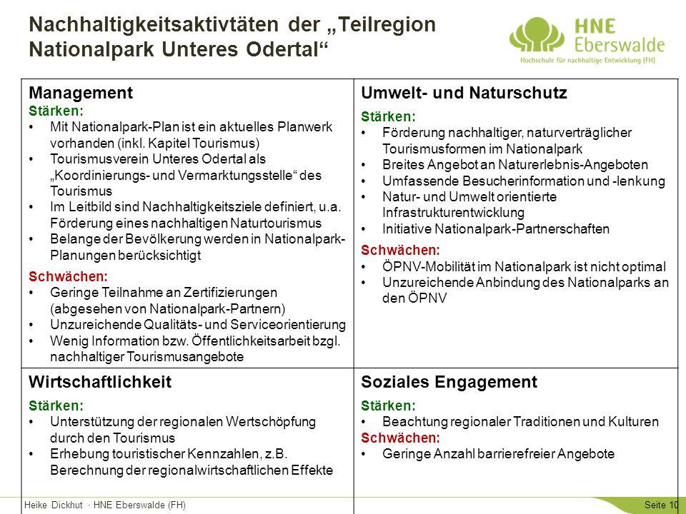 """Heike Dickhut · HNE Eberswalde (FH)Seite 10 Nachhaltigkeitsaktivtäten der """"Teilregion Nationalpark Unteres Odertal"""" Management Stärken: Mit Nationalpa"""