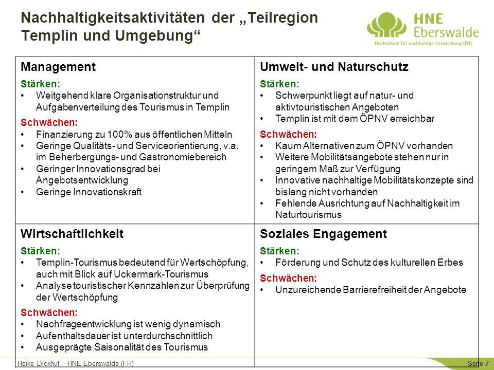 """Heike Dickhut · HNE Eberswalde (FH)Seite 8 Nachhaltigkeitsaktivtäten der """"Teilregion Angermünde Management Stärken: Erholungsentwicklungskonzeption (2012) vorhanden Klare Organisationsstruktur und Aufgabenverteilung in der Tourismusorganisation Schwächen: Geringe finanzielle Ausstattung des Tourismus (keine tragfähige Finanzausstattung) Mangelnde Qualität- und Serviceorientierung Teilnahmebereitschaft an Qualitätsmanagement und Zertifizierungen ist gering Umwelt- und Naturschutz Stärken: Fokus der Tourismusaktivitäten liegt auf Natur- und Outdoor-Aktivitäten Schwächen: Insgesamt schlechte Mobilitätssituation hinsichtlich des ÖPNV-Angebots Wirtschaftlichkeit Stärken: Tourismus ist zentraler Wirtschaftsfaktor der Stadt Angermünde Erhebung touristischer Kennzahlen (→ Ziele werden daran ausgerichtet) Marktforschung Soziales Engagement Stärken: Förderung der Barrierefreiheit Pflege und Erhalt des kulturellen Erbes in der Region"""