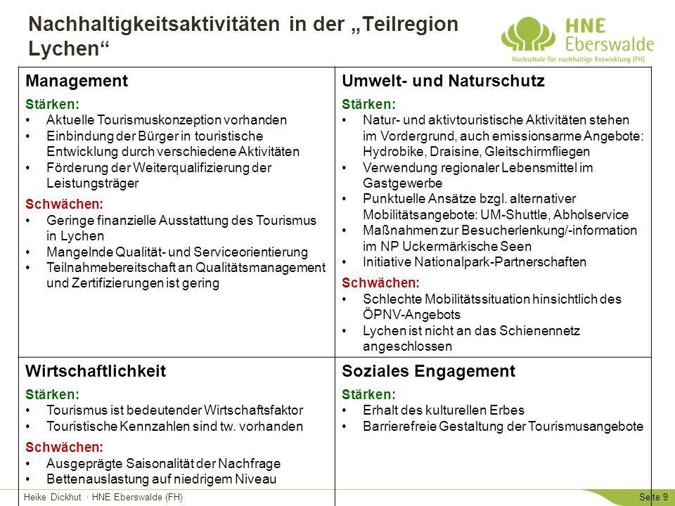 """Heike Dickhut · HNE Eberswalde (FH)Seite 9 Nachhaltigkeitsaktivitäten in der """"Teilregion Lychen"""" Management Stärken: Aktuelle Tourismuskonzeption vorh"""
