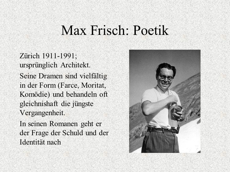 Max Frisch: Poetik Zürich 1911-1991; ursprünglich Architekt.