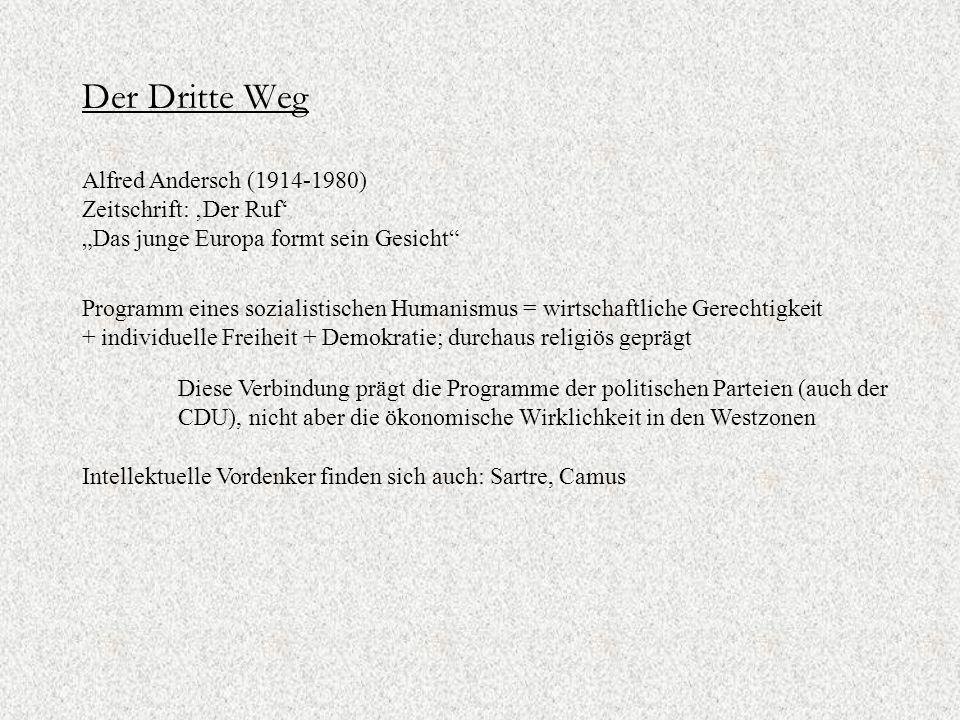 """Der Dritte Weg Alfred Andersch (1914-1980) Zeitschrift: 'Der Ruf' """"Das junge Europa formt sein Gesicht Programm eines sozialistischen Humanismus = wirtschaftliche Gerechtigkeit + individuelle Freiheit + Demokratie; durchaus religiös geprägt Diese Verbindung prägt die Programme der politischen Parteien (auch der CDU), nicht aber die ökonomische Wirklichkeit in den Westzonen Intellektuelle Vordenker finden sich auch: Sartre, Camus"""