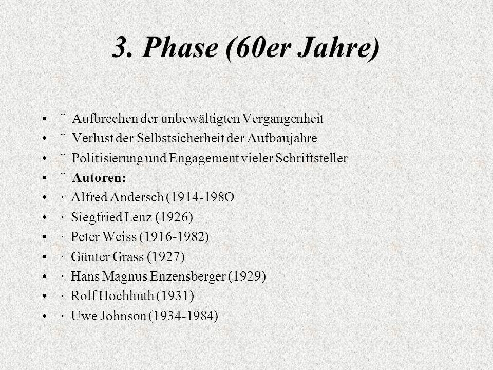 3. Phase (60er Jahre) ¨ Aufbrechen der unbewältigten Vergangenheit ¨ Verlust der Selbstsicherheit der Aufbaujahre ¨ Politisierung und Engagement viele