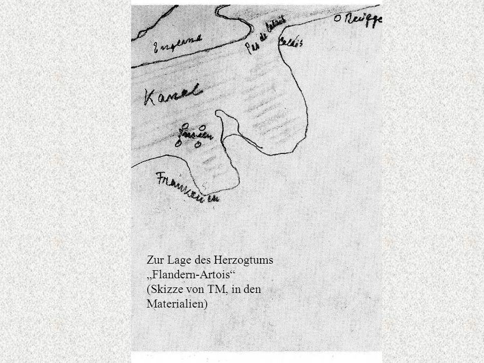 """Zur Lage des Herzogtums """"Flandern-Artois (Skizze von TM, in den Materialien)"""