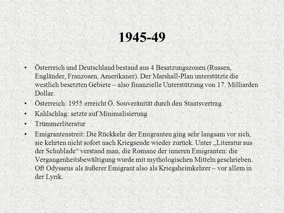 1945-49 Österreich und Deutschland bestand aus 4 Besatzungszonen (Russen, Engländer, Franzosen, Amerikaner).
