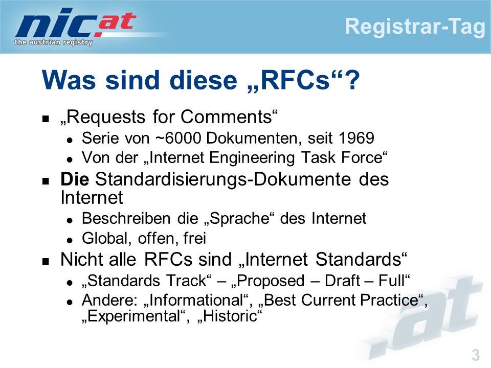 """Registrar-Tag 3 Was sind diese """"RFCs ."""
