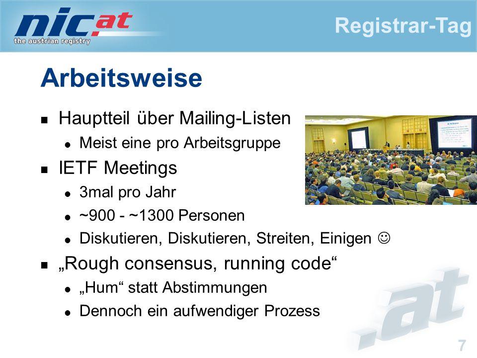 """Registrar-Tag 7 Arbeitsweise Hauptteil über Mailing-Listen Meist eine pro Arbeitsgruppe IETF Meetings 3mal pro Jahr ~900 - ~1300 Personen Diskutieren, Diskutieren, Streiten, Einigen """"Rough consensus, running code """"Hum statt Abstimmungen Dennoch ein aufwendiger Prozess"""