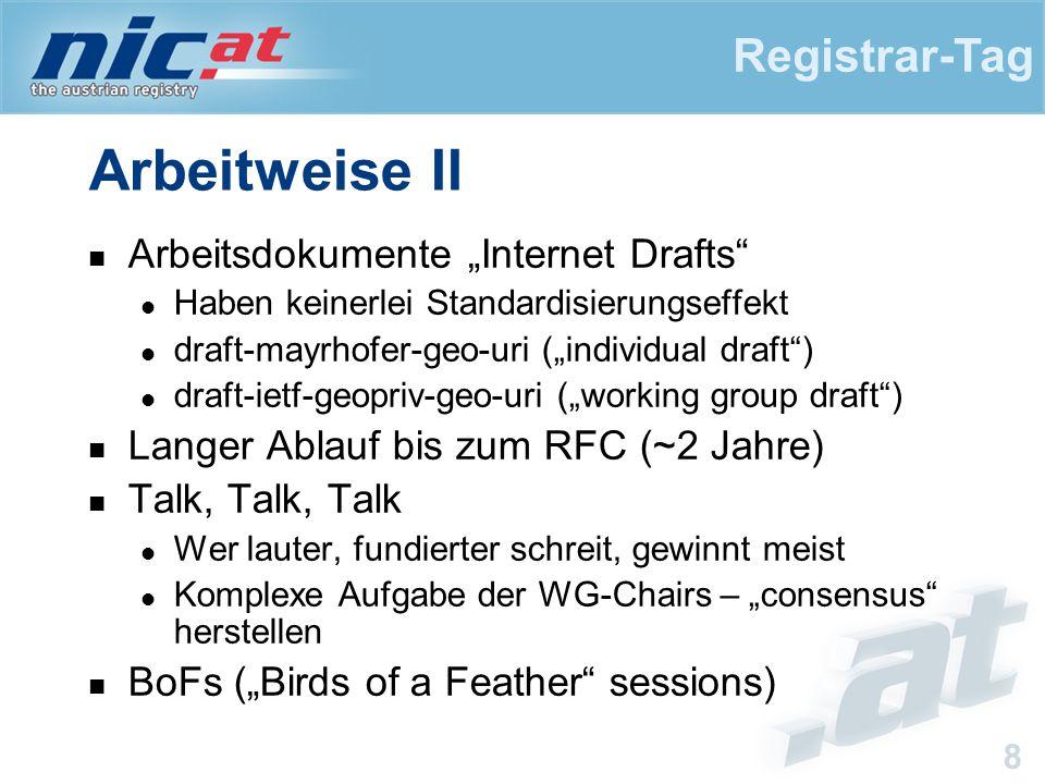 """Registrar-Tag 8 Arbeitweise II Arbeitsdokumente """"Internet Drafts Haben keinerlei Standardisierungseffekt draft-mayrhofer-geo-uri (""""individual draft ) draft-ietf-geopriv-geo-uri (""""working group draft ) Langer Ablauf bis zum RFC (~2 Jahre) Talk, Talk, Talk Wer lauter, fundierter schreit, gewinnt meist Komplexe Aufgabe der WG-Chairs – """"consensus herstellen BoFs (""""Birds of a Feather sessions)"""