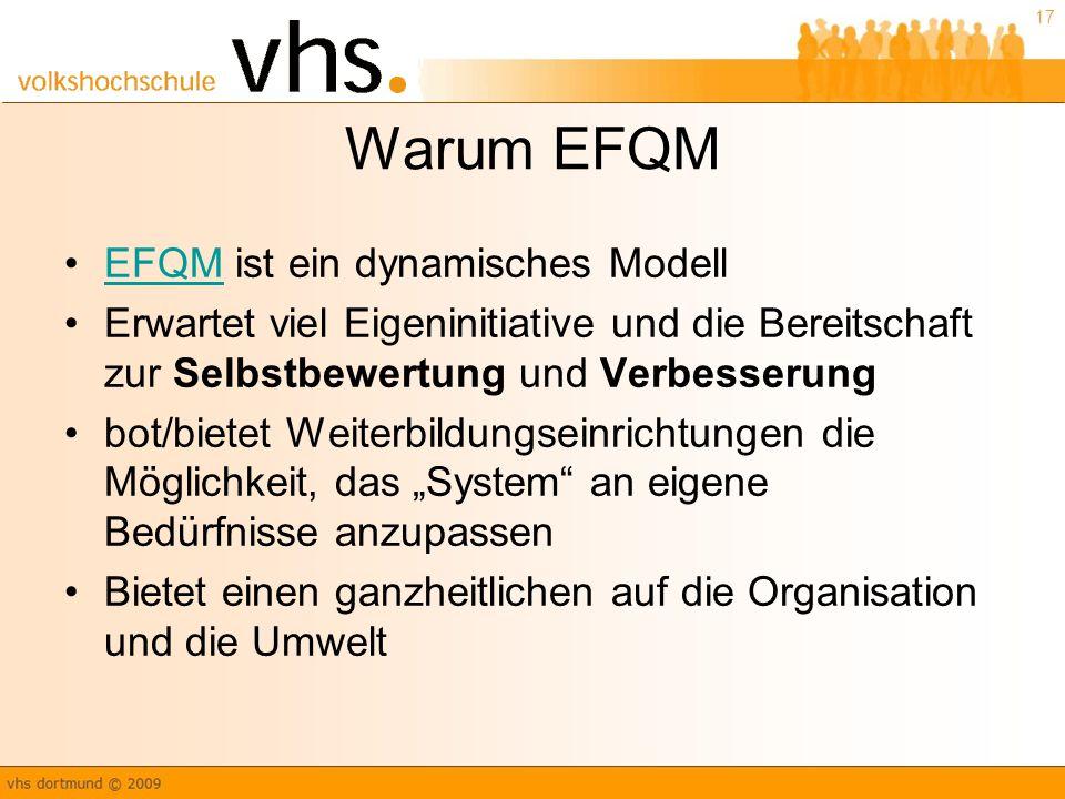 """17 Warum EFQM EFQM ist ein dynamisches ModellEFQM Erwartet viel Eigeninitiative und die Bereitschaft zur Selbstbewertung und Verbesserung bot/bietet Weiterbildungseinrichtungen die Möglichkeit, das """"System an eigene Bedürfnisse anzupassen Bietet einen ganzheitlichen auf die Organisation und die Umwelt"""