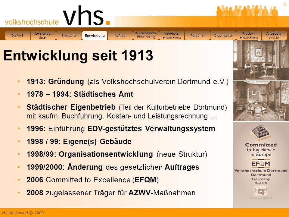 5 Entwicklung seit 1913 1913: Gründung (als Volkshochschulverein Dortmund e.V.) 1978 – 1994: Städtisches Amt Städtischer Eigenbetrieb (Teil der Kulturbetriebe Dortmund) mit kaufm.
