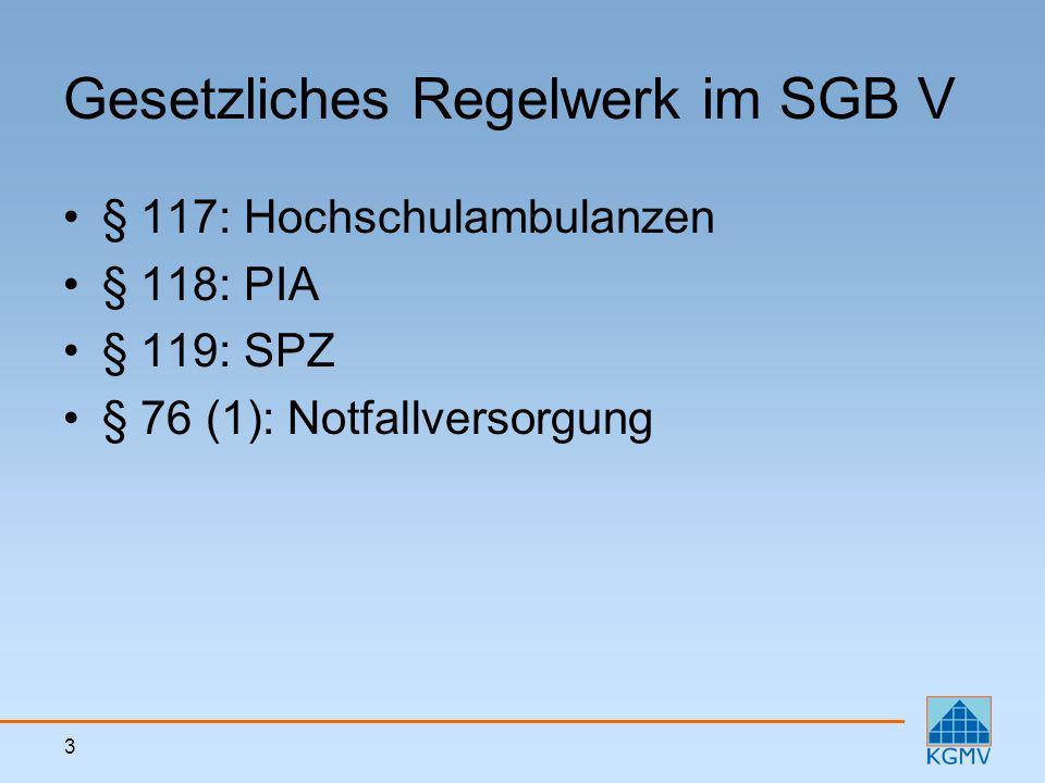 3 Gesetzliches Regelwerk im SGB V § 117: Hochschulambulanzen § 118: PIA § 119: SPZ § 76 (1): Notfallversorgung