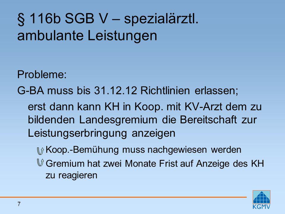 7 § 116b SGB V – spezialärztl. ambulante Leistungen Probleme: G-BA muss bis 31.12.12 Richtlinien erlassen; erst dann kann KH in Koop. mit KV-Arzt dem