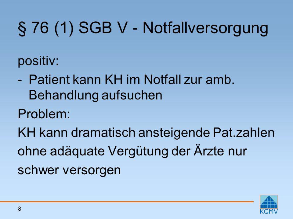 9 § 76 (1) SGB V - Notfallversorgung Zusatzproblem in M-V: Vergütung ist strittig Auffassung KVMV: 4,21 € je Fall ausreichend (einschlägige EBM-Ziffer 01210 sieht immerhin 15,60 € je Fall vor) Haftungsrecht: KH darf Pat.
