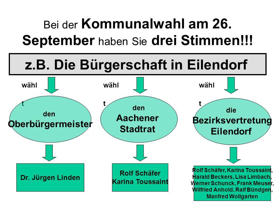 Bei der Kommunalwahl am 26.September haben Sie drei Stimmen!!.