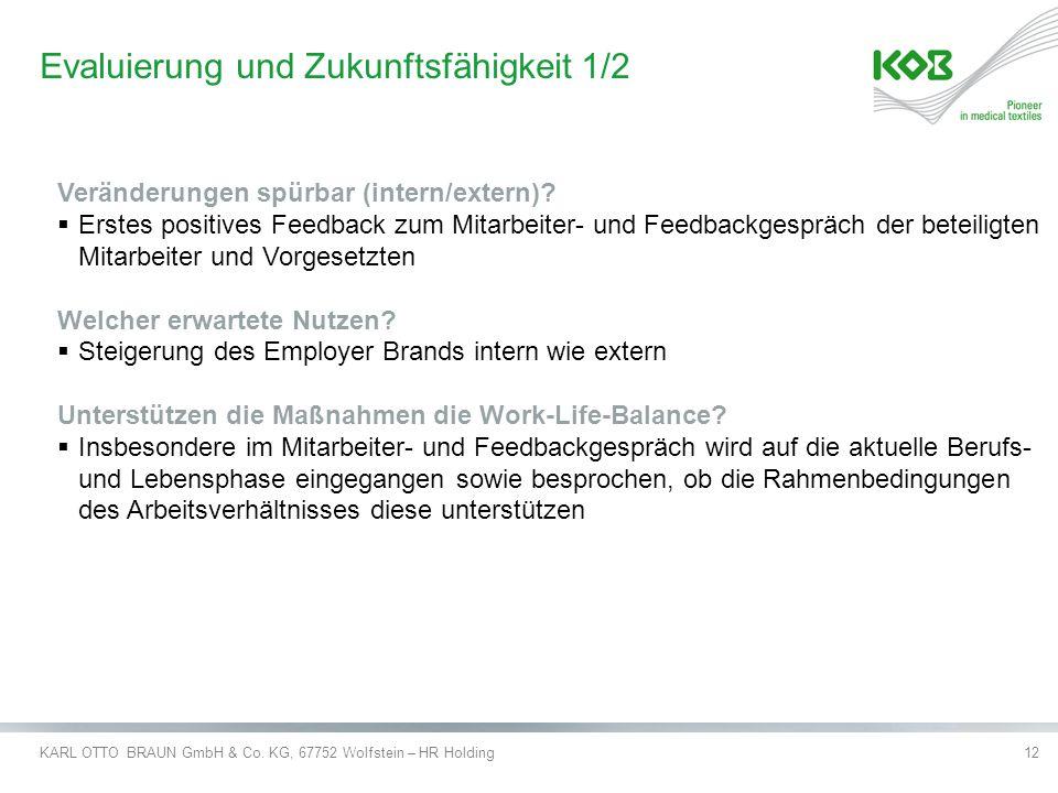 KARL OTTO BRAUN GmbH & Co. KG, 67752 Wolfstein – HR Holding12 Evaluierung und Zukunftsfähigkeit 1/2 Veränderungen spürbar (intern/extern)?  Erstes po