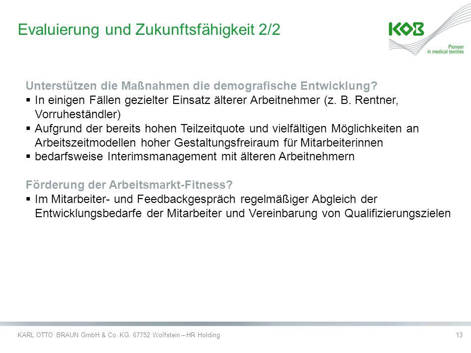 KARL OTTO BRAUN GmbH & Co. KG, 67752 Wolfstein – HR Holding13 Evaluierung und Zukunftsfähigkeit 2/2 Unterstützen die Maßnahmen die demografische Entwi