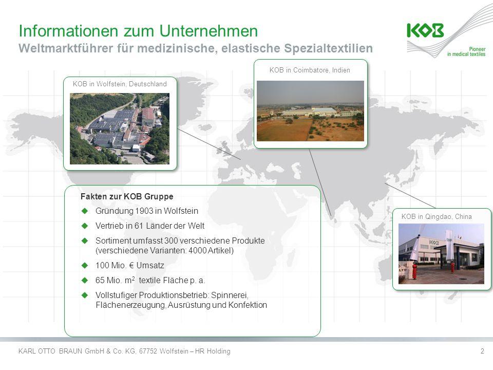 KARL OTTO BRAUN GmbH & Co. KG, 67752 Wolfstein – HR Holding2 Informationen zum Unternehmen Weltmarktführer für medizinische, elastische Spezialtextili