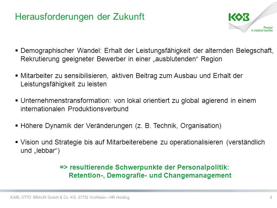 KARL OTTO BRAUN GmbH & Co.KG, 67752 Wolfstein – HR Holding7 Schwerpunkt der Projektarbeit.