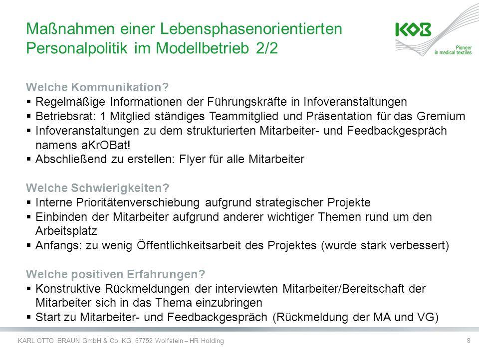 KARL OTTO BRAUN GmbH & Co. KG, 67752 Wolfstein – HR Holding8 Welche Kommunikation?  Regelmäßige Informationen der Führungskräfte in Infoveranstaltung