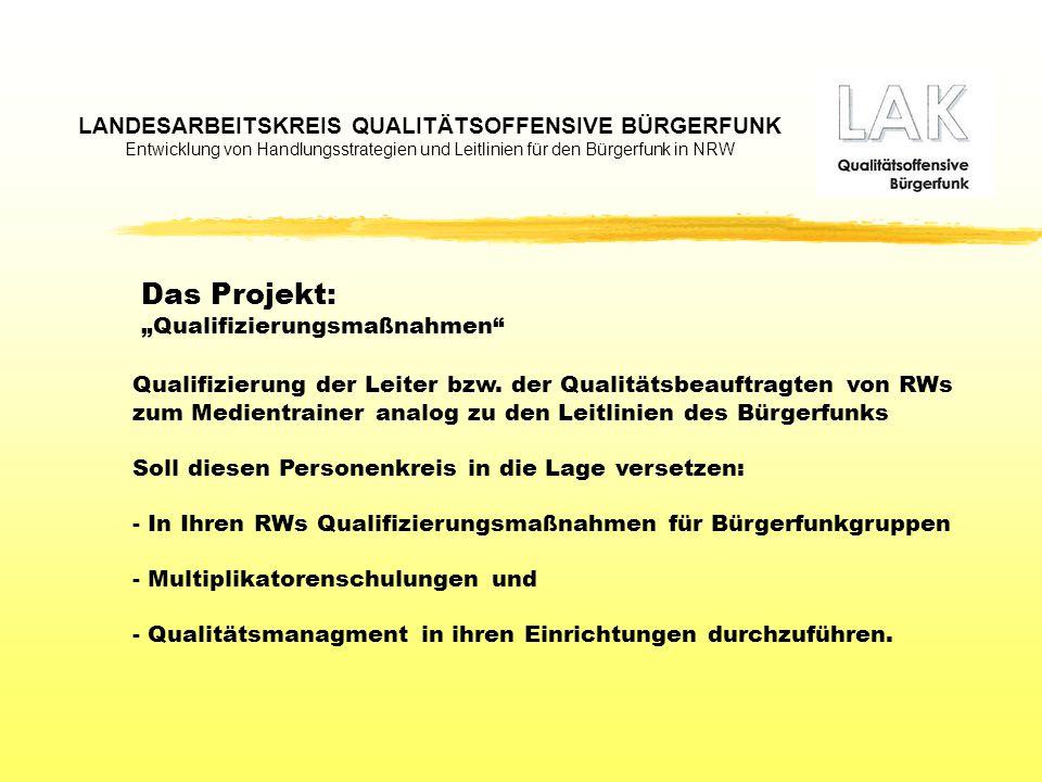 LANDESARBEITSKREIS QUALITÄTSOFFENSIVE BÜRGERFUNK Entwicklung von Handlungsstrategien und Leitlinien für den Bürgerfunk in NRW Qualifizierung der Leiter bzw.