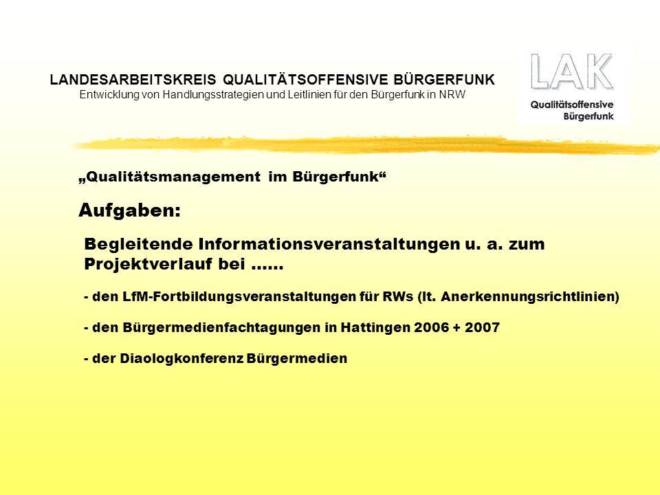 LANDESARBEITSKREIS QUALITÄTSOFFENSIVE BÜRGERFUNK Entwicklung von Handlungsstrategien und Leitlinien für den Bürgerfunk in NRW Kontakt: Medienforum Duisburg Neudorfer Str.