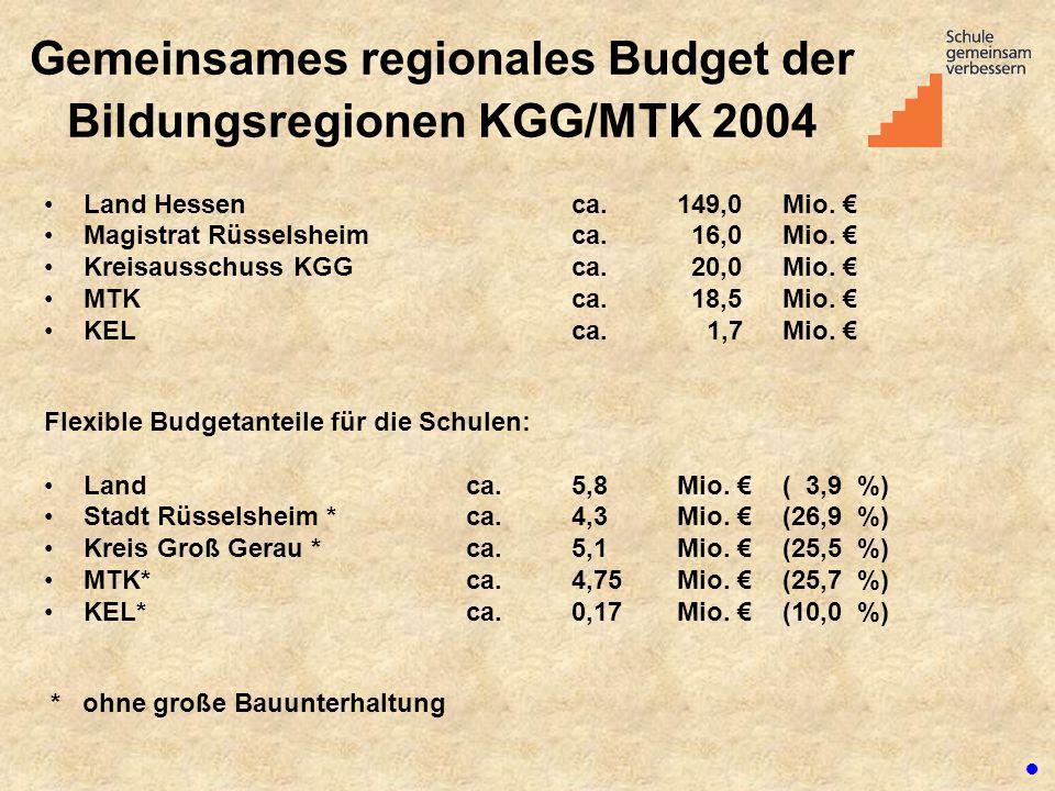 Gemeinsames regionales Budget der Bildungsregionen KGG/MTK 2004 Land Hessenca. 149,0Mio. € Magistrat Rüsselsheimca. 16,0Mio. € Kreisausschuss KGGca. 2