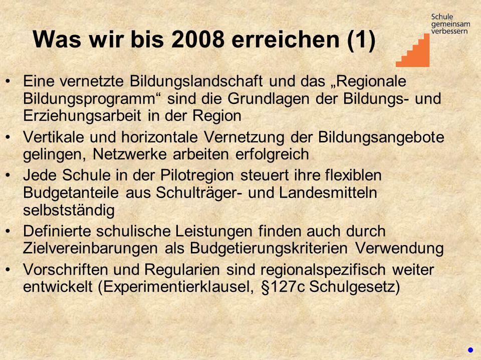 """Was wir bis 2008 erreichen (1) Eine vernetzte Bildungslandschaft und das """"Regionale Bildungsprogramm"""" sind die Grundlagen der Bildungs- und Erziehungs"""
