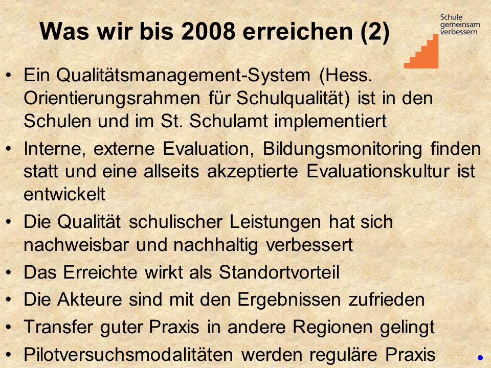 Was wir bis 2008 erreichen (2) Ein Qualitätsmanagement-System (Hess. Orientierungsrahmen für Schulqualität) ist in den Schulen und im St. Schulamt imp