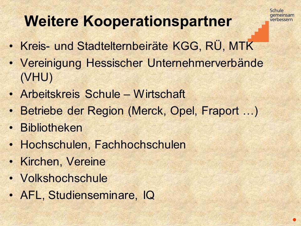 Weitere Kooperationspartner Kreis- und Stadtelternbeiräte KGG, RÜ, MTK Vereinigung Hessischer Unternehmerverbände (VHU) Arbeitskreis Schule – Wirtscha