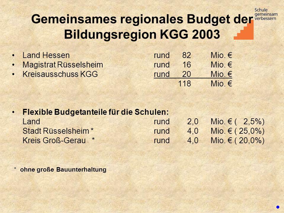 Gemeinsames regionales Budget der Bildungsregion KGG 2003 Land Hessen rund 82 Mio. € Magistrat Rüsselsheim rund 16 Mio. € Kreisausschuss KGG rund 20 M