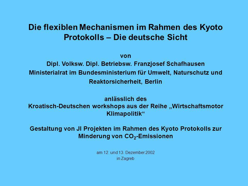 Die flexiblen Mechanismen im Rahmen des Kyoto Protokolls – Die deutsche Sicht von Dipl.