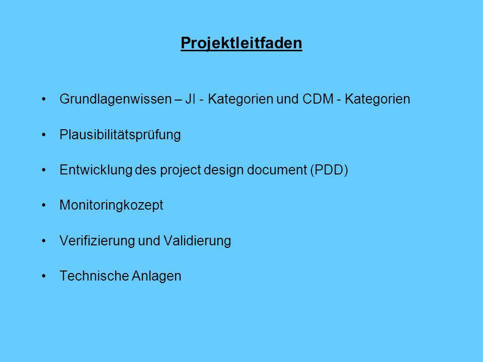 Projektleitfaden Grundlagenwissen – JI - Kategorien und CDM - Kategorien Plausibilitätsprüfung Entwicklung des project design document (PDD) Monitoringkozept Verifizierung und Validierung Technische Anlagen