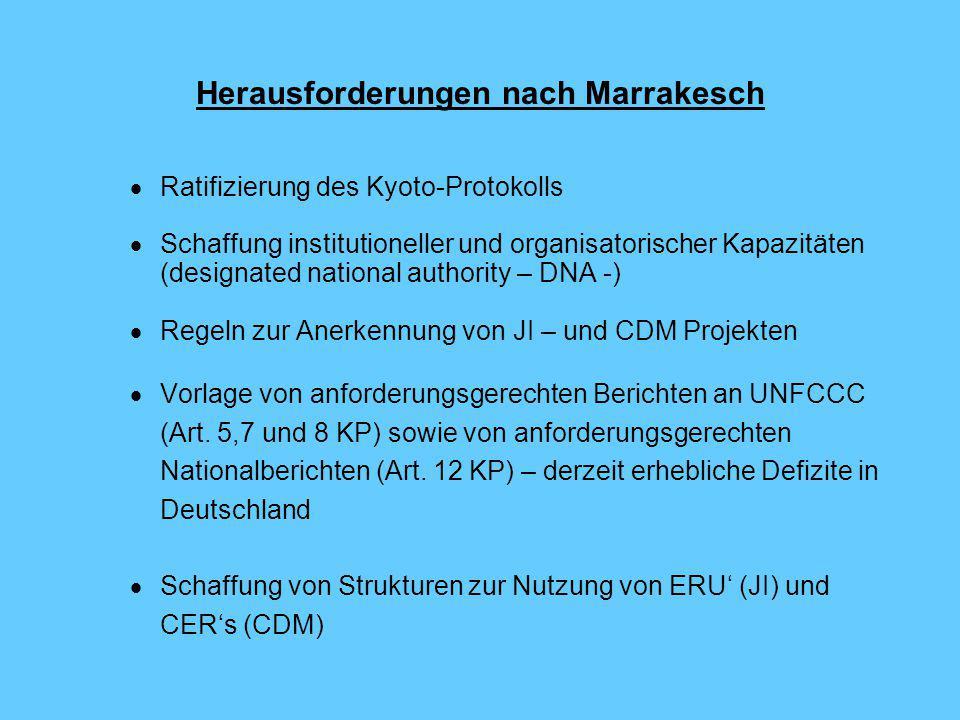 Herausforderungen nach Marrakesch  Ratifizierung des Kyoto-Protokolls  Schaffung institutioneller und organisatorischer Kapazitäten (designated national authority – DNA -)  Regeln zur Anerkennung von JI – und CDM Projekten  Vorlage von anforderungsgerechten Berichten an UNFCCC (Art.