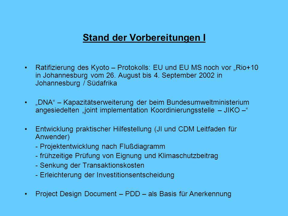 """Stand der Vorbereitungen I Ratifizierung des Kyoto – Protokolls: EU und EU MS noch vor """"Rio+10 in Johannesburg vom 26."""