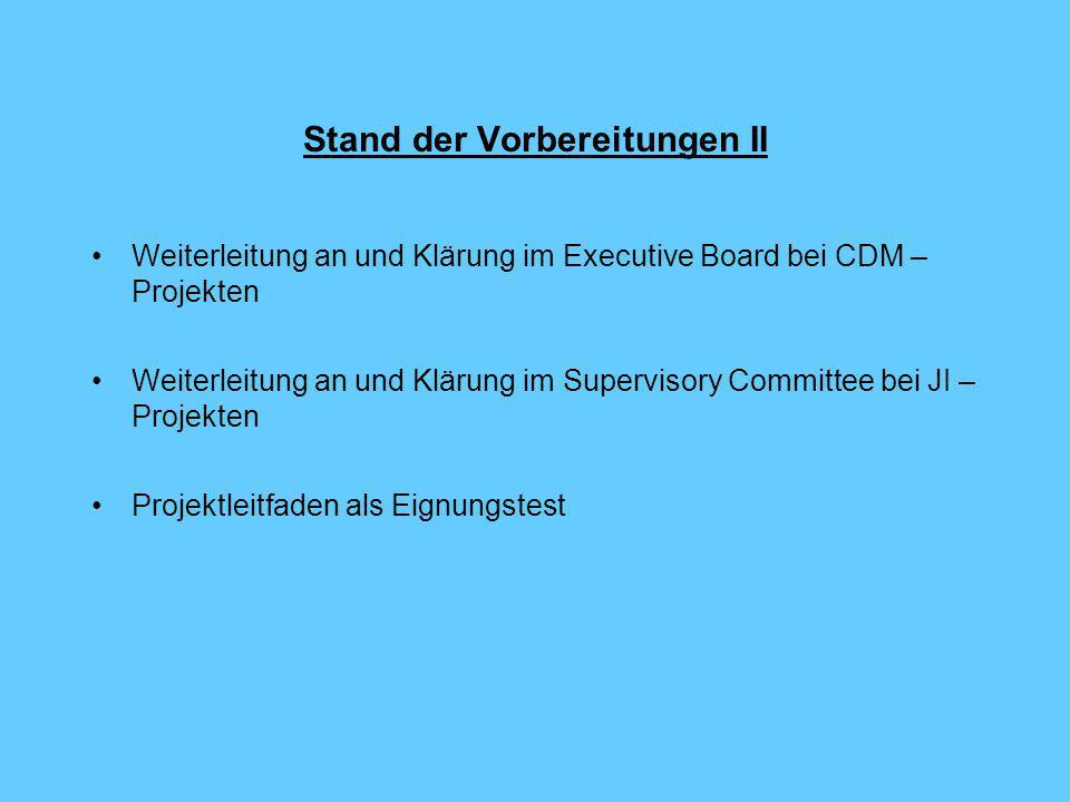 Stand der Vorbereitungen II Weiterleitung an und Klärung im Executive Board bei CDM – Projekten Weiterleitung an und Klärung im Supervisory Committee bei JI – Projekten Projektleitfaden als Eignungstest